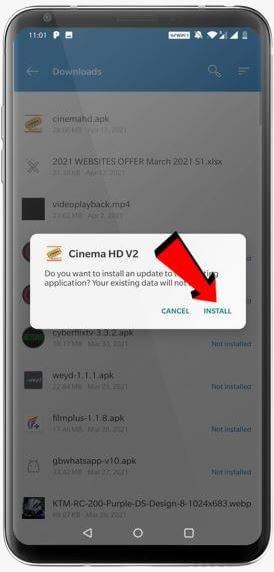 cinema hd on android installation 3